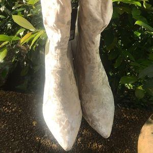Crushed Beige Velvet Boots